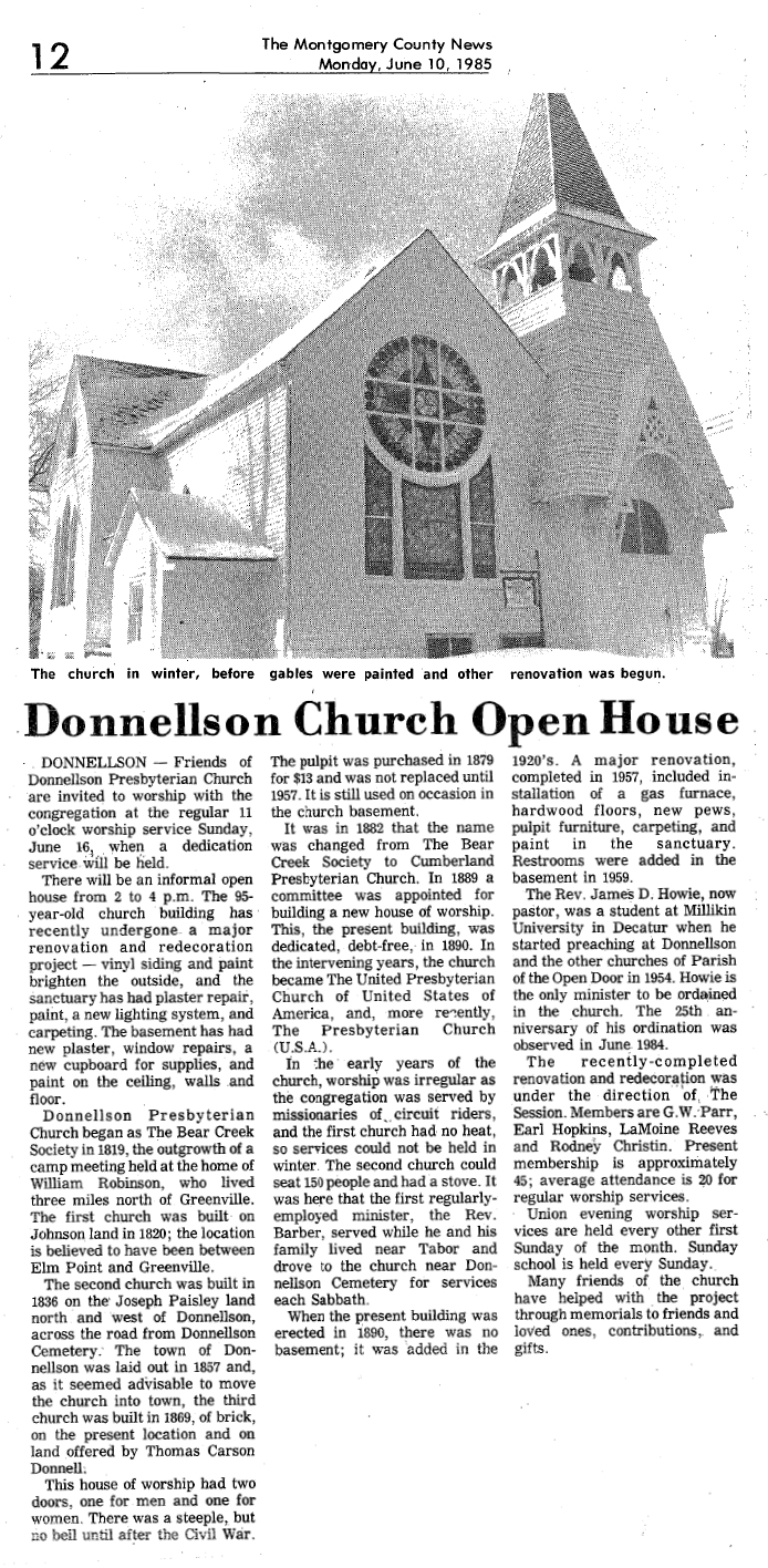 Donnellson Church Open House Mon June 10 1985