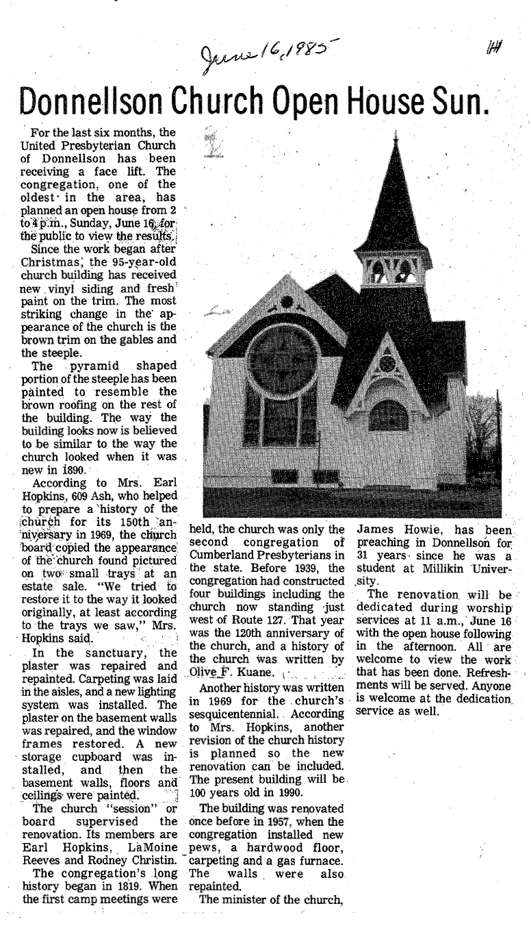 Donnellson Church Open House Sun June 16 1985