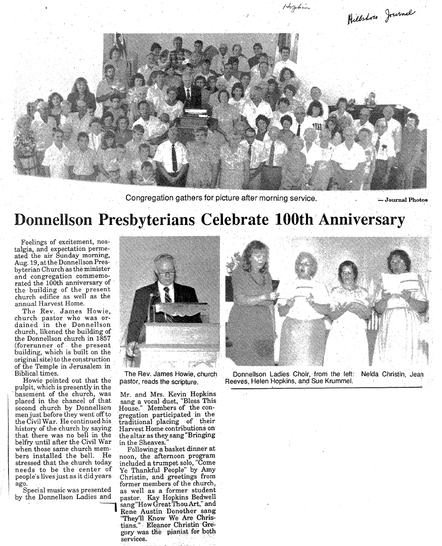 Donnellson Presbyterians Celebrate 100th