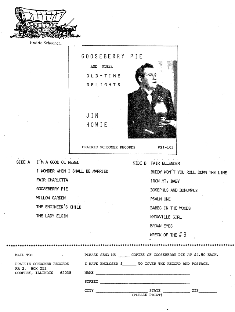 Gooseberry Pie Jim Howie Prairie Schooner Records album order form
