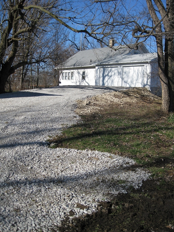 new driveway and garage at The Manse