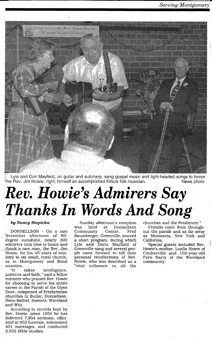 Rev Howie's Admirers Say Thanks In Words And Song