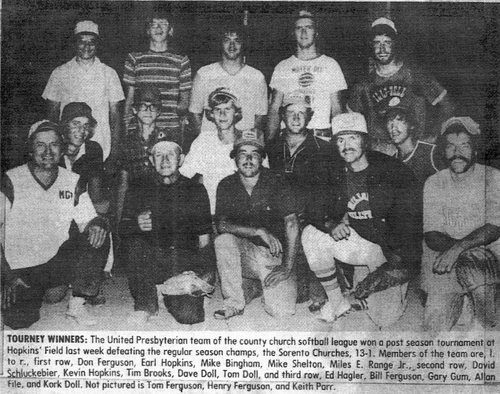 United Presbyterian team of the county churches Fast Pitch Softball league1970s